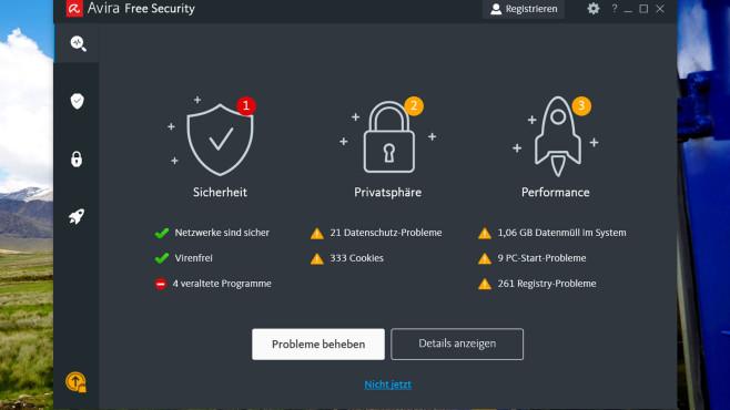 """Avira Free Security: Neue PC-Sicherheits-Suite gratis Nach dem ersten PC-Scan verrät Avira Free Security: Es gibt viel zu optimieren und verbessern. Ob sich alle """"Probleme"""" direkt beheben lassen, verrät COMPUTER BILD.©COMPUTER BILD"""