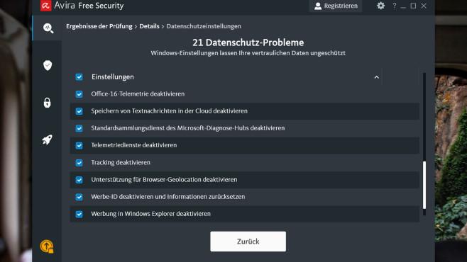 Avira Free Security: Neue PC-Sicherheits-Suite gratis Praktisch: Avira Free Security hilft kostenfrei, Windows 10 Datenschutzfreundlich zu konfigurieren.©COMPUTER BILD
