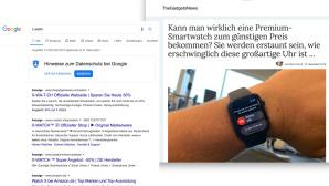 Screenshots von Google und TheGadgetNews zum Thema X Watch©Screenshot: Google, TheGadgetNews