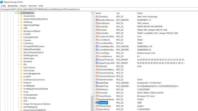 Windows-10-Version ändern: So hacken Sie die Versionsnummern-Angabe©COMPUTER BILD