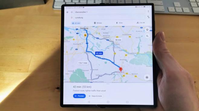 Google Maps Huawei Mate Xs©COMPUTER BILD / MIchael Huch