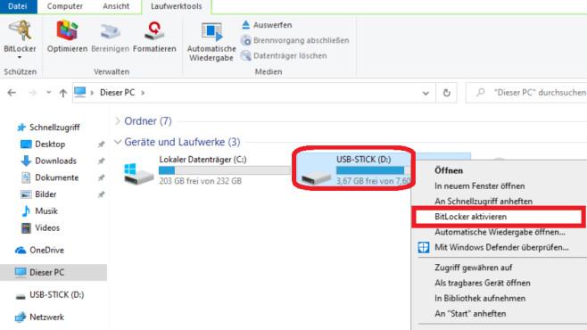 """Windows-10-BitLocker kostenlos: 260-Euro-Verschlüsselung für USB-Sticks Wahlweise beginnen Sie mit der Stick-Verschlüsselung über den zugehörigen Kontextmenüpunkt - oder oben über ein Ribbon-Menü (Tab """"Laufwerkstools"""").©COMPUTER BILD"""