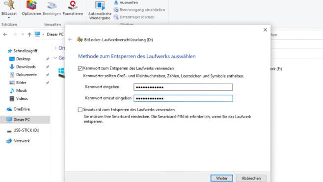 Windows-10-BitLocker kostenlos: 260-Euro-Verschlüsselung für USB-Sticks Im Wizard ist das erwünschte Zugriffspasswort zweimal einzutippen, beim späteren Authentifizieren genügt jeweils eine einmalige Eingabe.©COMPUTER BILD