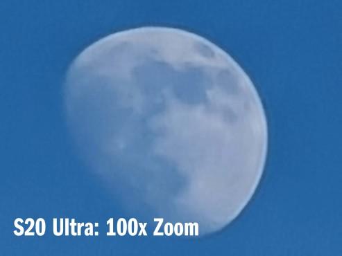 Galaxy S20 Zoom: Der Trick mit der Vergrößerung Das macht der 100x-Space-Zoom des S20 Ultra daraus: Nicht sehr scharf, dennoch beeindruckende Vergrößerung, die die Lage der Mondkrater gut erkennen lässt.©COMPUTER BILD