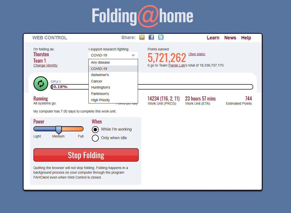 Screenshot 1 - Folding@home