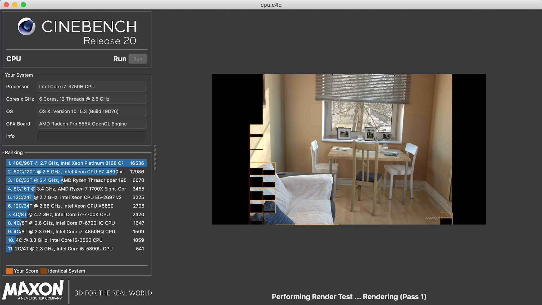 Screenshot 1 - Cinebench (Mac)