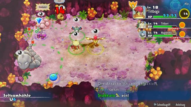 Pokémon – Mystery Dungeon: Retterteam DX: Kleine Monster Untertage In den Dungeons kann es schonmal unübersichtlich werden, grade wenn sich einem vielen Pokémon angeschlossen haben.©Nintendo