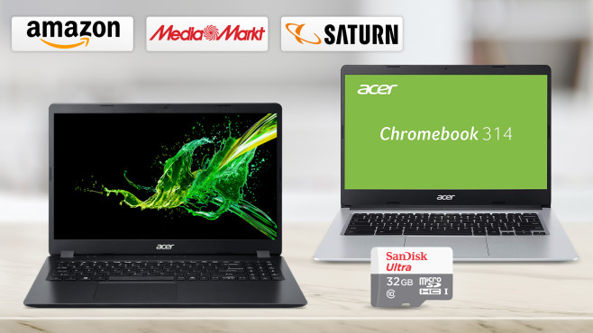 Amazon, Media Markt, Saturn: Die Top-Deals des Tages! © Amazon, Saturn, Media Markt, Acer, SanDisk, iStock.com/BongkarnThanyakij
