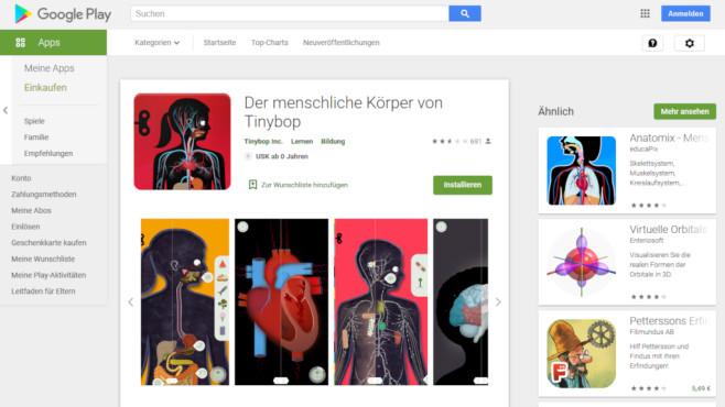 Die Bio-App Der menschliche Körper©Screenshot https://play.google.com