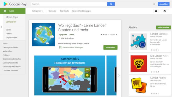 Geografie-App Wo liegt das?©Screenshot https://play.google.com
