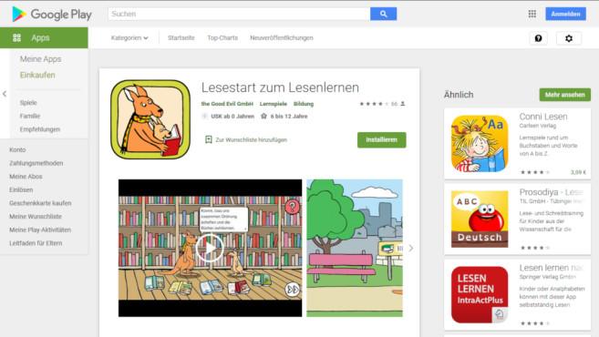 Lesenlernen mit Känguru©Screenshot https://play.google.com