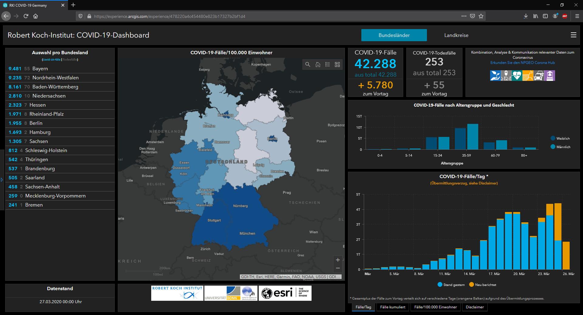 Screenshot 1 - Coronavirus-Live-Karte für Deutschland