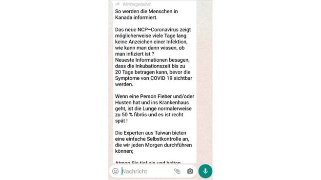 Fake Nachricht bei WhatsApp©Mimikama