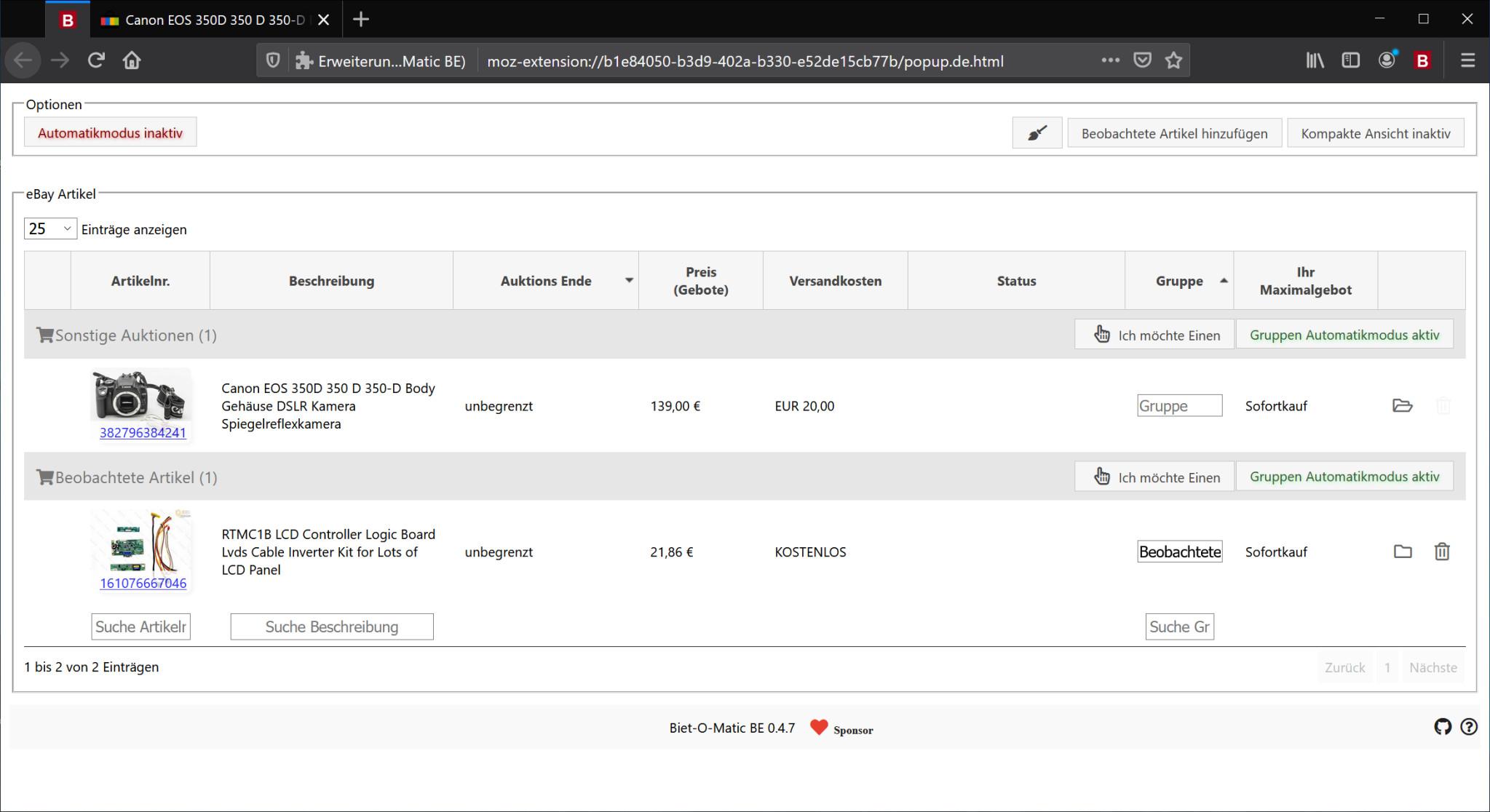 Screenshot 1 - Biet-O-Matic BE für Firefox