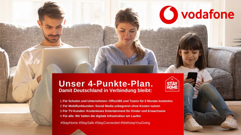 Vodafone reagiert auf Corona: TV gratis, Social Media gratis und mehr