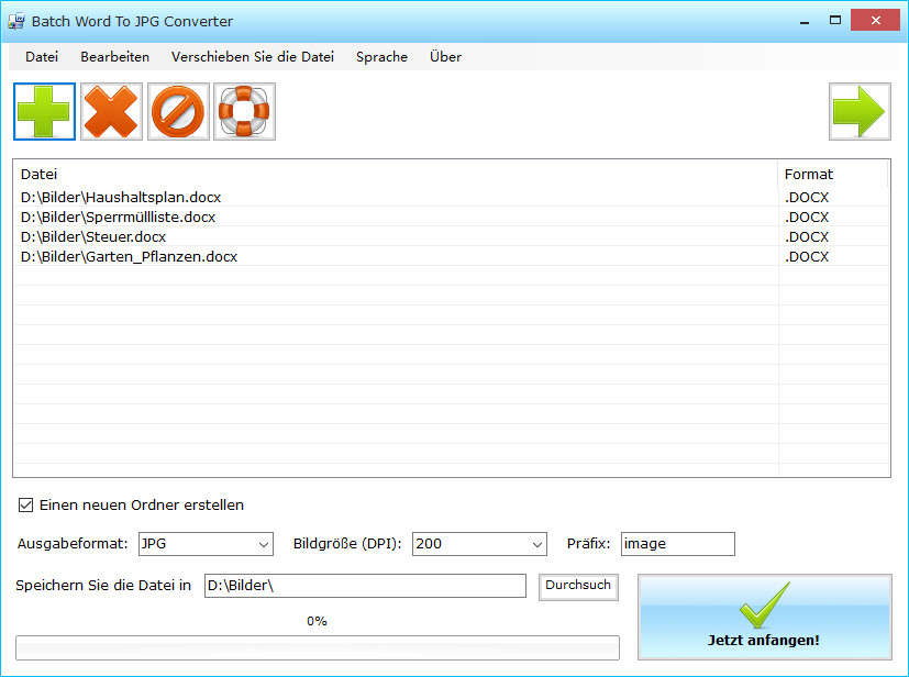 Screenshot 1 - Batch WORD to JPG Converter