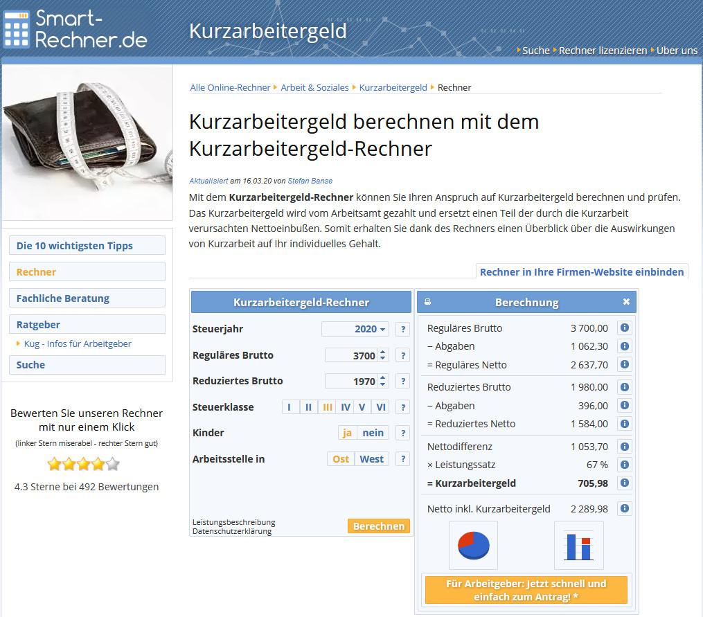 Screenshot 1 - Kurzarbeit Rechner