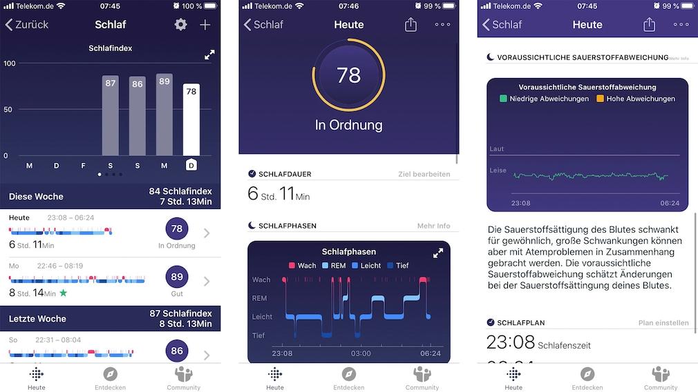 Fitbit Charge 4: Die roten Lichtsensoren des Charge 4 ermitteln die Sauerstoffsättigung im Blut beim Schlafen. Die Analyse gibt Hinweise auf Atemaussetzer.