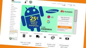Bei WirKaufens  erhalten Sie beim Verkauf von gebrauchten Android-Smartphones 25 Euro extra ausgezahlt.©Screenshot www.wirkaufens.de