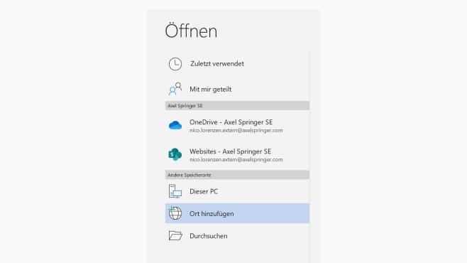 Microsoft Word: Öffnen > Ort hinzufügen©Microsoft / COMPUTER BILD