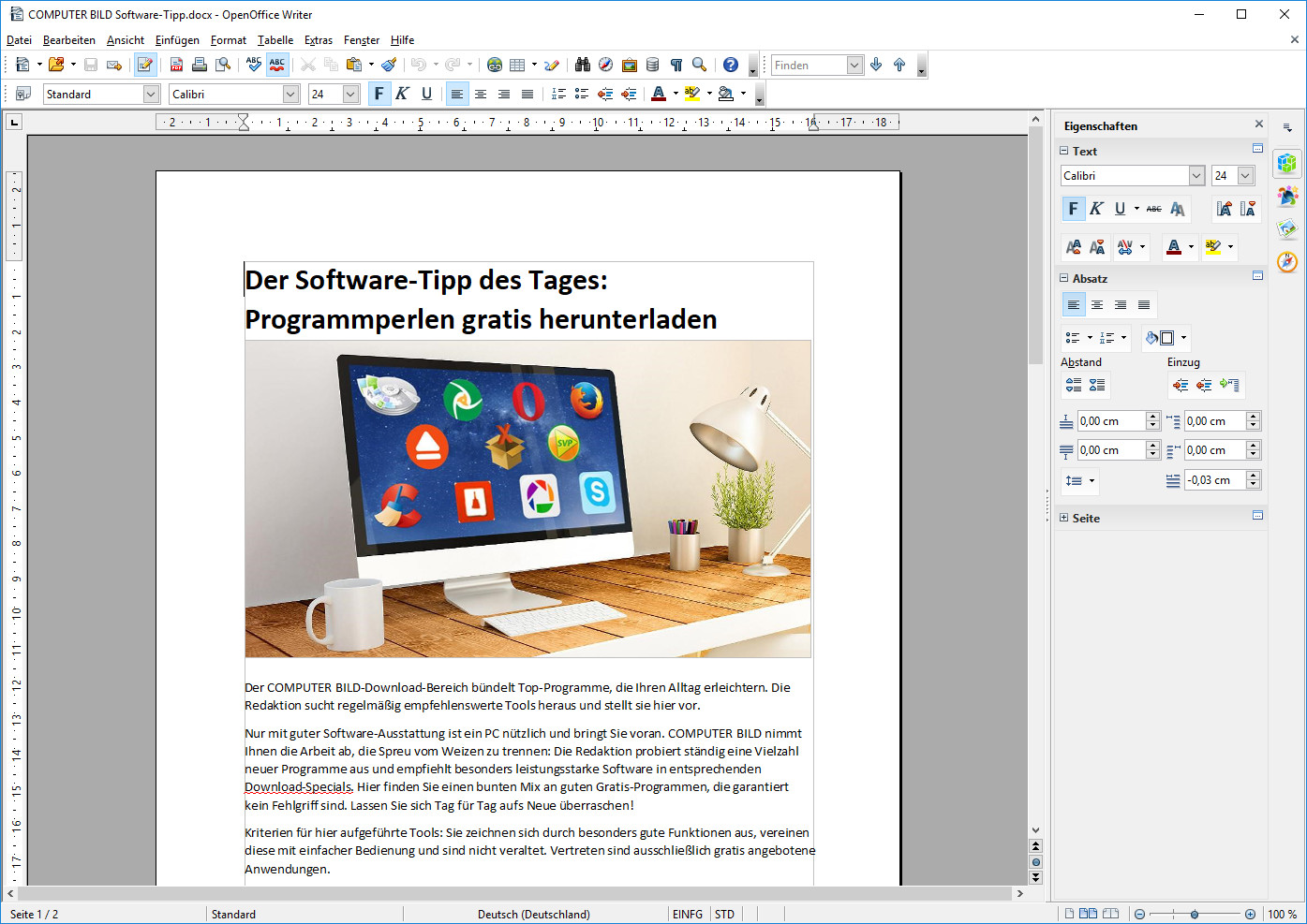Screenshot 1 - OpenOffice Portable