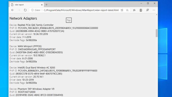 Windows 10: WLAN-Report erstellen mit Infos zum Internetzugang©COMPUTER BILD