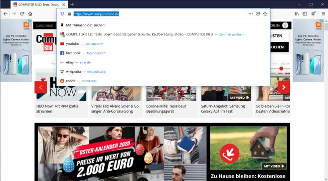 Firefox 75: neue Adresszeile©Mozilla
