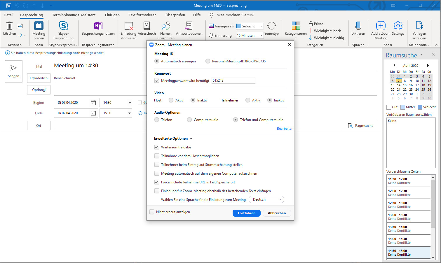 Screenshot 1 - Zoom-Plugin für Microsoft Outlook