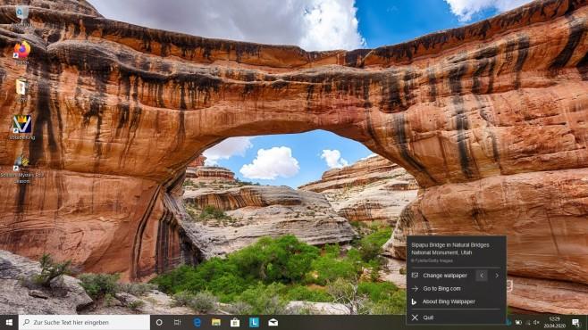 Bing: Täglich neue Desktop-Hintergründe Jeden Tag gibt es mit der Desktop-App von Bing neue Wallpaper.©Microsoft/Bing