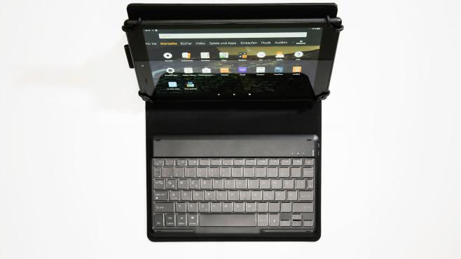 Tastatur von Jelly Comb mit dem Amazon Fire HD 10©COMPUTER BILD