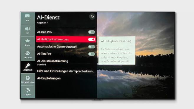 LG OLED GX im Test: So stellen Sie den OLED-TV perfekt ein! Der LG OLED GX verfügt außerdem über eine empfehlenswerte Bild-Anpassung an die Raumhelligkeit.©LG, COMPUTER BILD