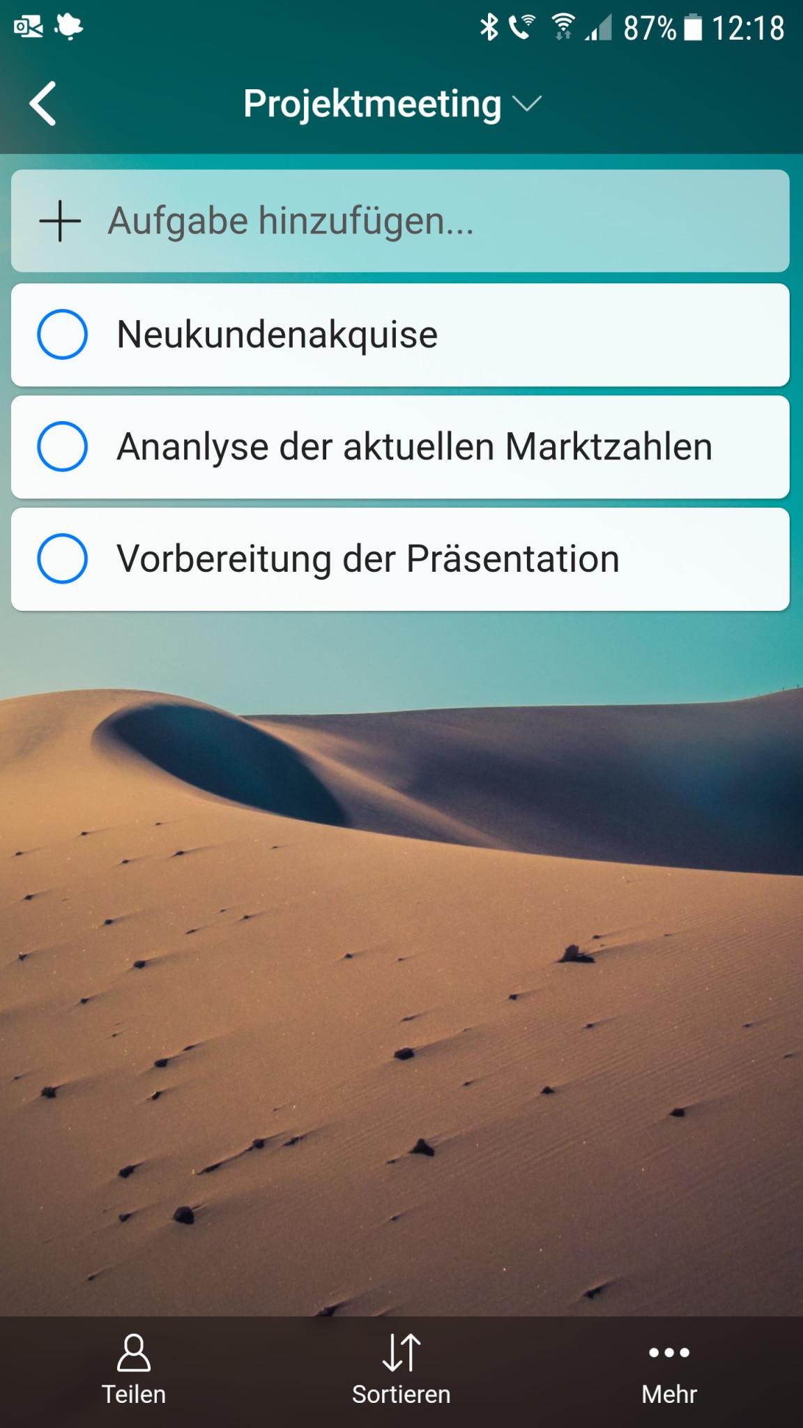 Screenshot 1 - Zenkit To Do (Android-App)