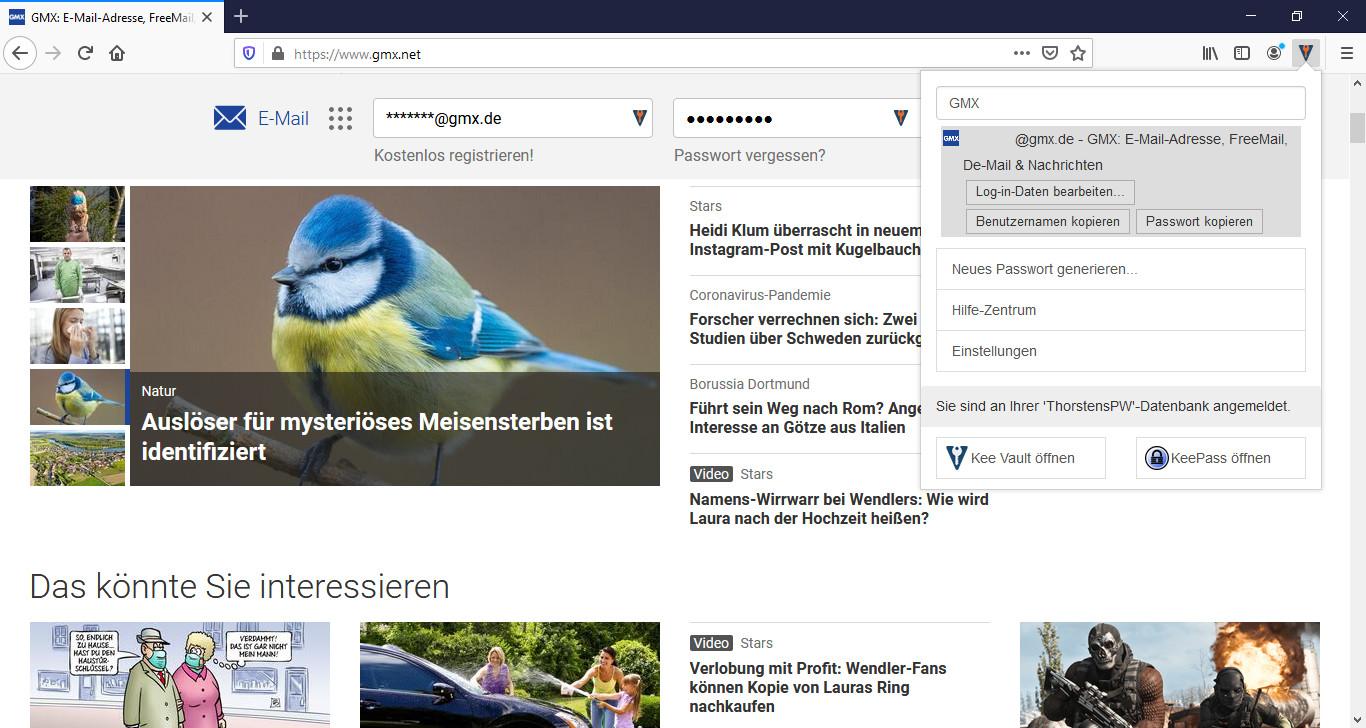 Screenshot 1 - Kee Password Manager: KeePass für Firefox