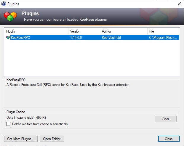 Screenshot 1 - KeePassRPC