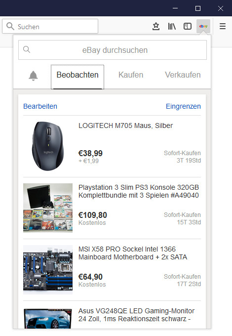 Screenshot 1 - eBay für Firefox