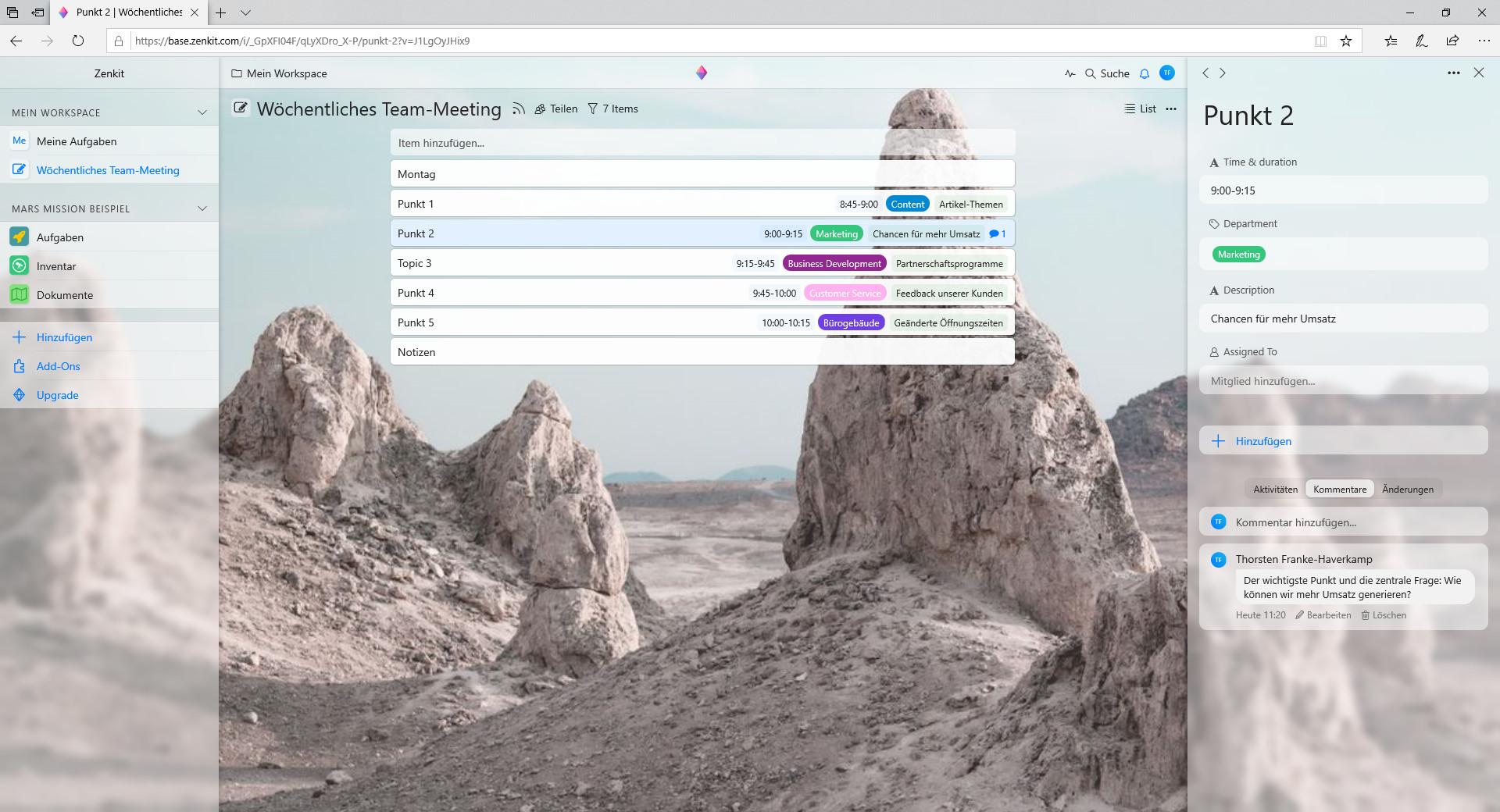 Screenshot 1 - Zenkit Base
