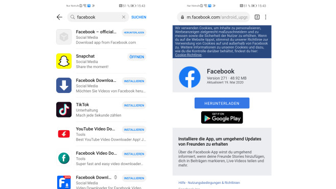 Facebook-App via Huawei AppGallery©COMPUTER BILD
