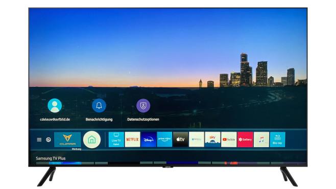Samsung TU8079: Der Preis-Leistungs-Riese im Test Auf dem Samsung TU8079 lassen sich die Apps zahlreicher Streaming-Anbieter installieren. Links neben den App-Symbolen blendet Samsung Werbung ein.©Samsung, COMPUTER BILD