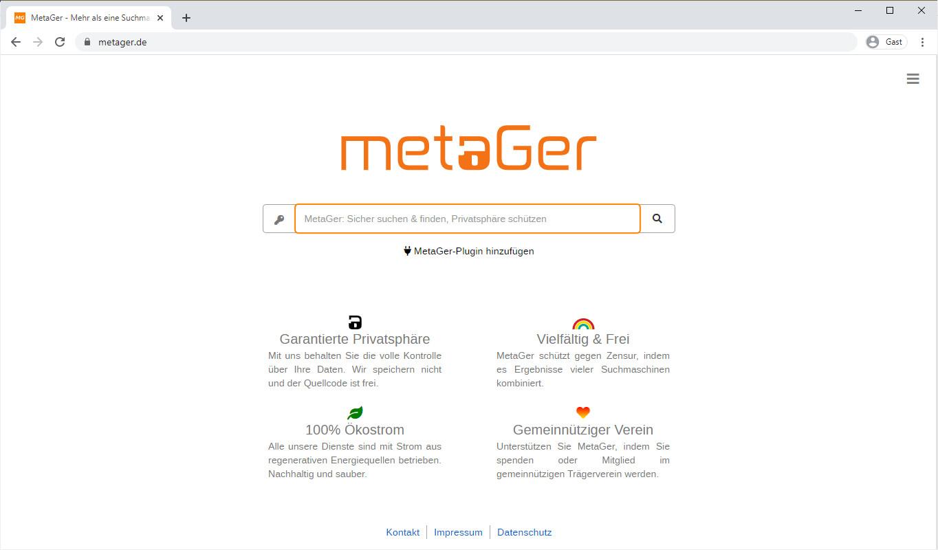 Screenshot 1 - MetaGer