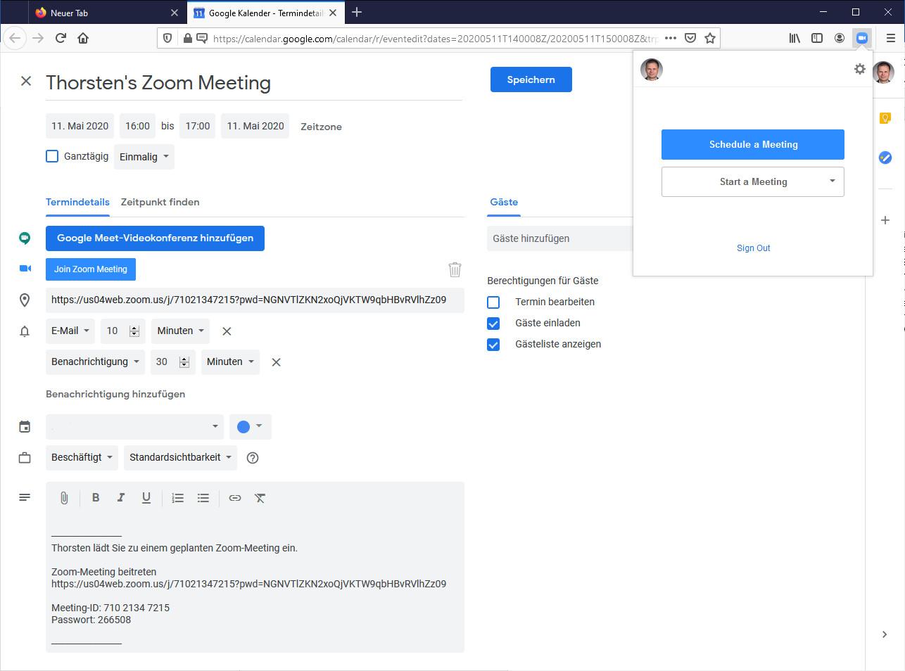 Screenshot 1 - Zoom Scheduler für Firefox