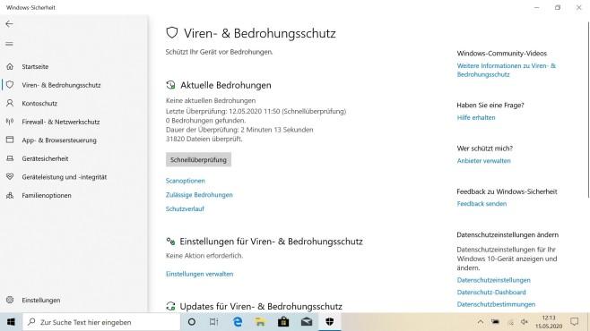Windows Defender: Der Virenschutz im Test Der Virenscanner erkennt mit bestehender Internetverbindung so gut wie jede Bedrohung.©Microsoft