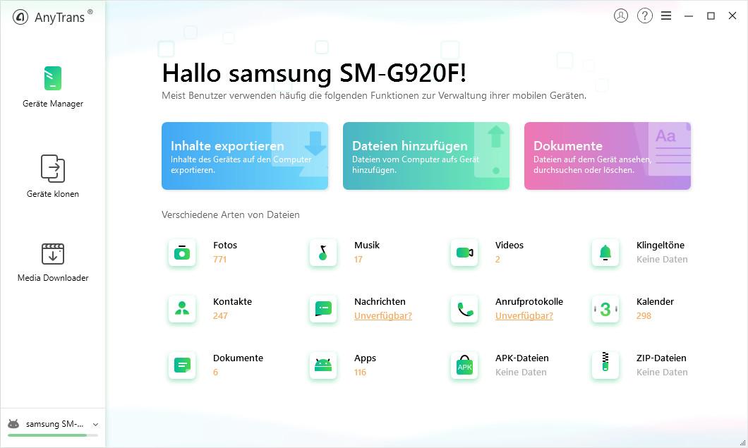 Screenshot 1 - AnyTrans für Android – Kostenlose Vollversion für 1 Jahr