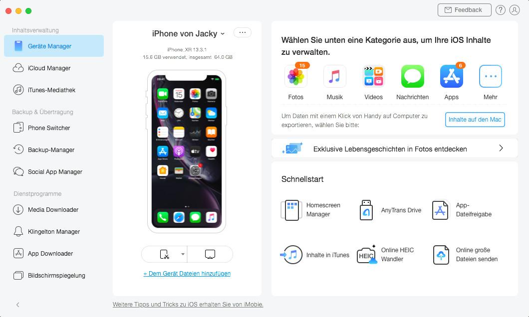 Screenshot 1 - AnyTrans für iOS (Mac) – Kostenlose Vollversion für 1 Jahr