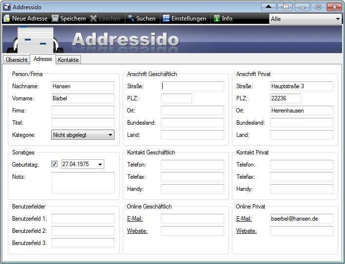 Screenshot 1 - Addressido