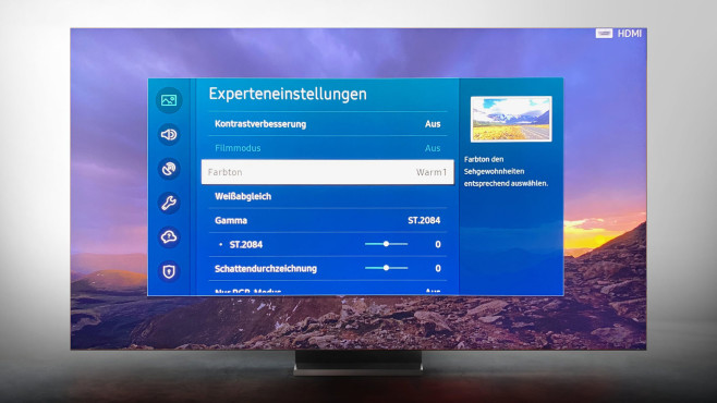Die besten Bildeinstellungen für den Samsung Q950T: Bildmodus Film.©Samsung, COMPUTER BILD