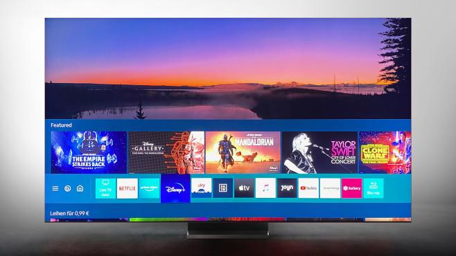 Samsung Q950T im Test: Samsung dreht auf! Wie bei allen aktuellen Samsung-Fernsehern ist die App-Auswahl beim Q950T hervorragend, alle wichtigen Streaming-Anbieter sind vertreten. Außerdem gelingt der Wechsel zwischen Fernsehen und verschiedenen Apps blitzschnell.©Samsung, COMPUTER BILD