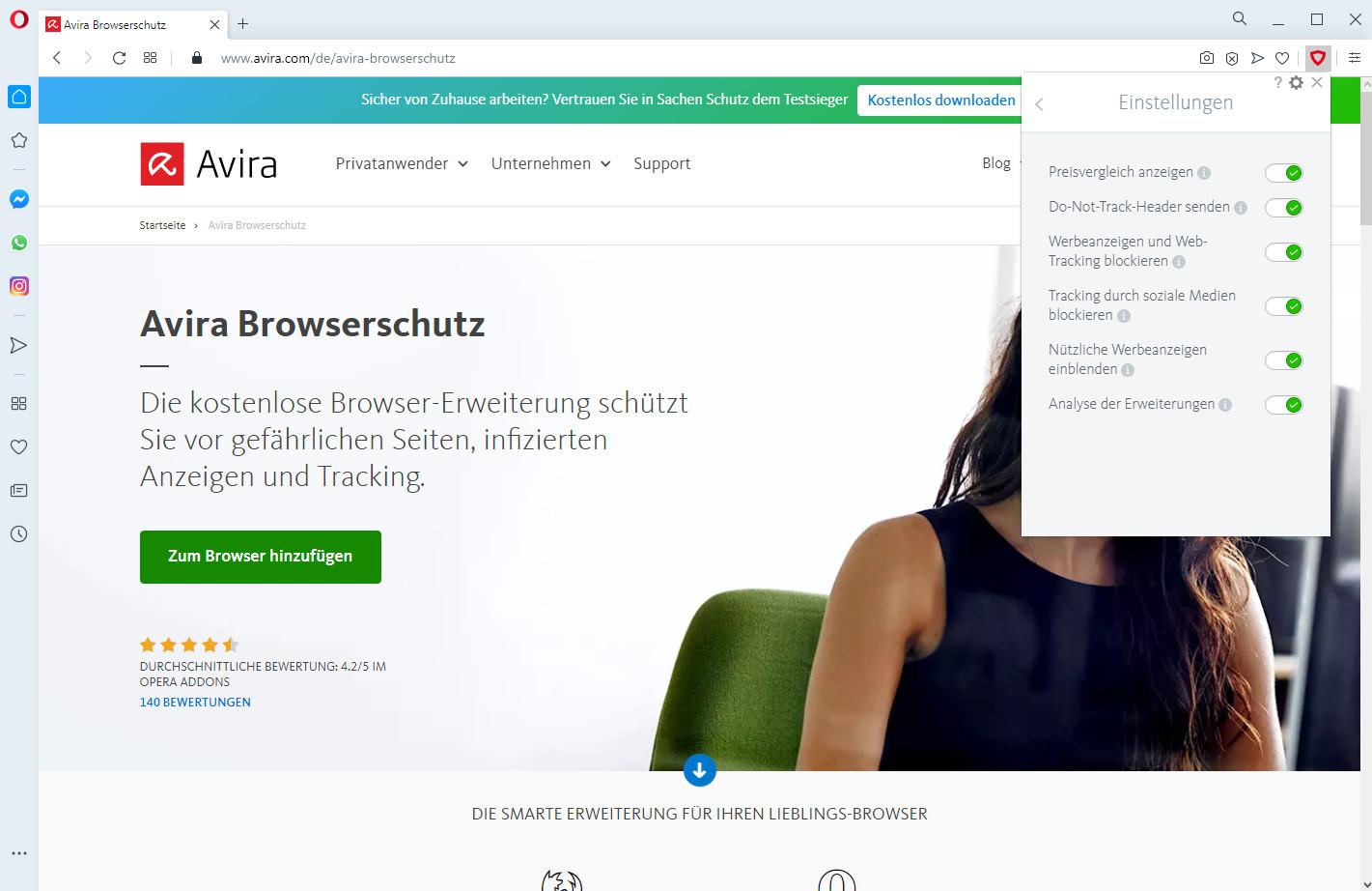 Screenshot 1 - Avira Browserschutz für Opera