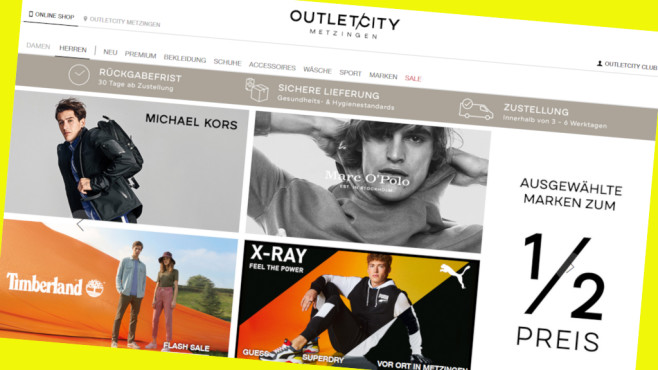 Outletcity.com: Designermode dauerhaft günstig©Screenshot www.outletcity.com