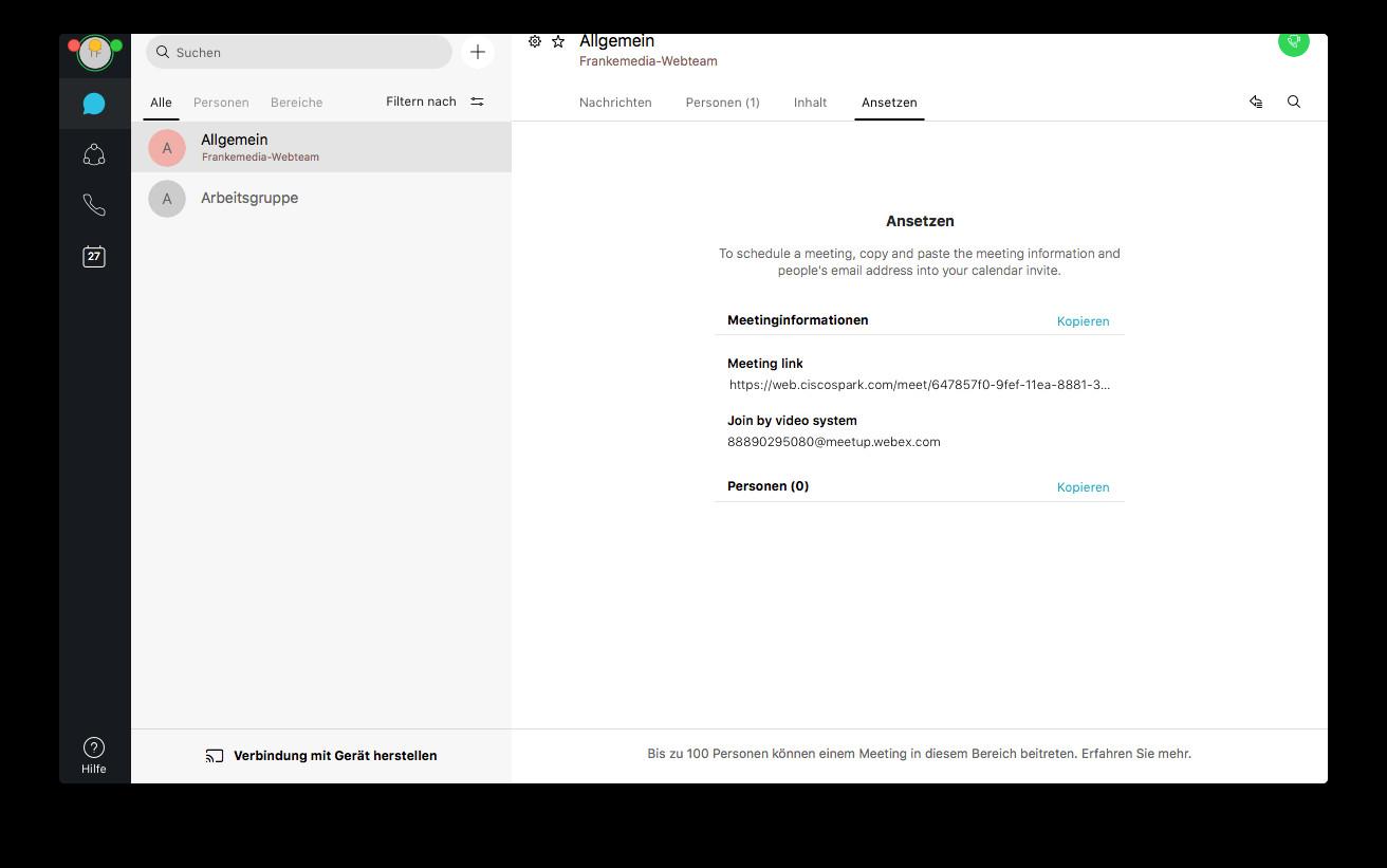 Screenshot 1 - Cisco Webex Teams (Mac)