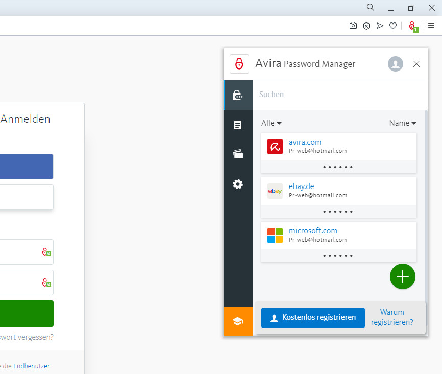 Screenshot 1 - Avira Password Manager für Opera